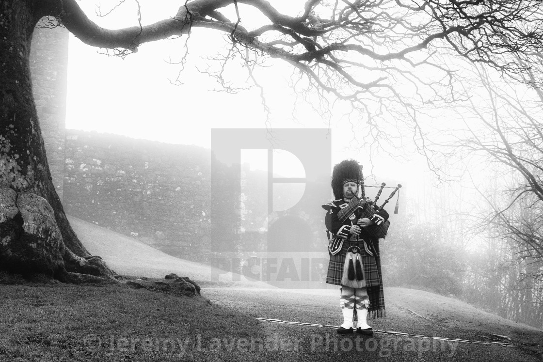 """The Scottish Bagpiper"" stock image"