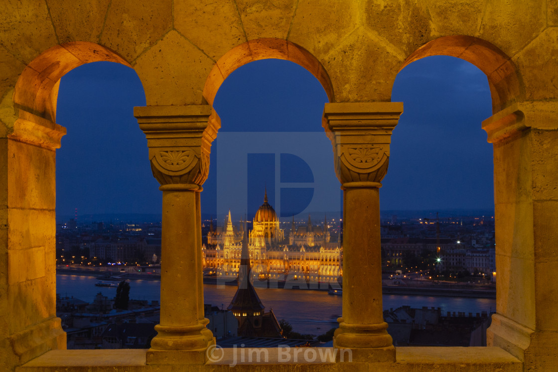 """Parliament through a window"" stock image"