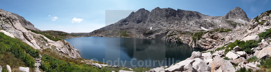 """Long view of Blue Lake"" stock image"
