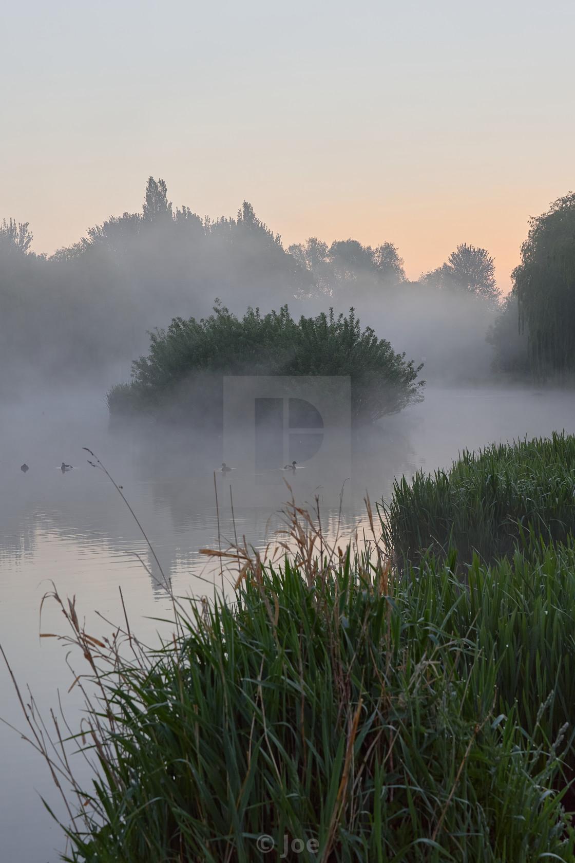 """Misty River Sunrise"" stock image"