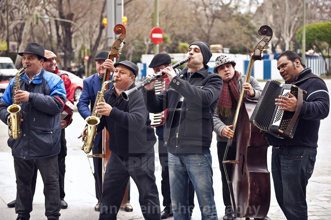 """Street musicians, Madrid, Spain"" stock image"
