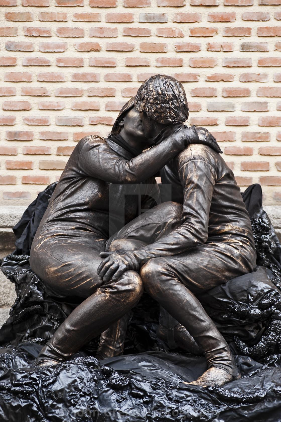 """Living statue street performers, Madrid, Spain"" stock image"