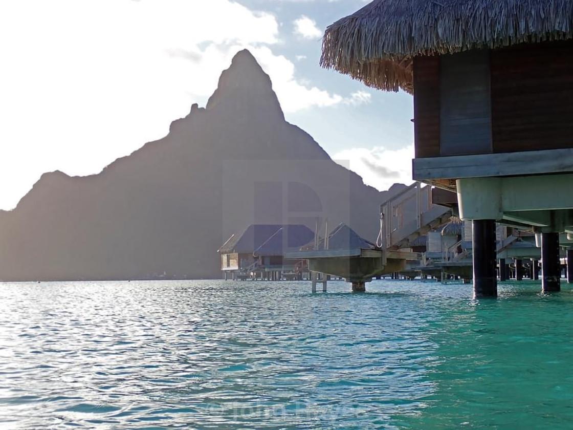 """Mount Otemanu from lagoon"" stock image"