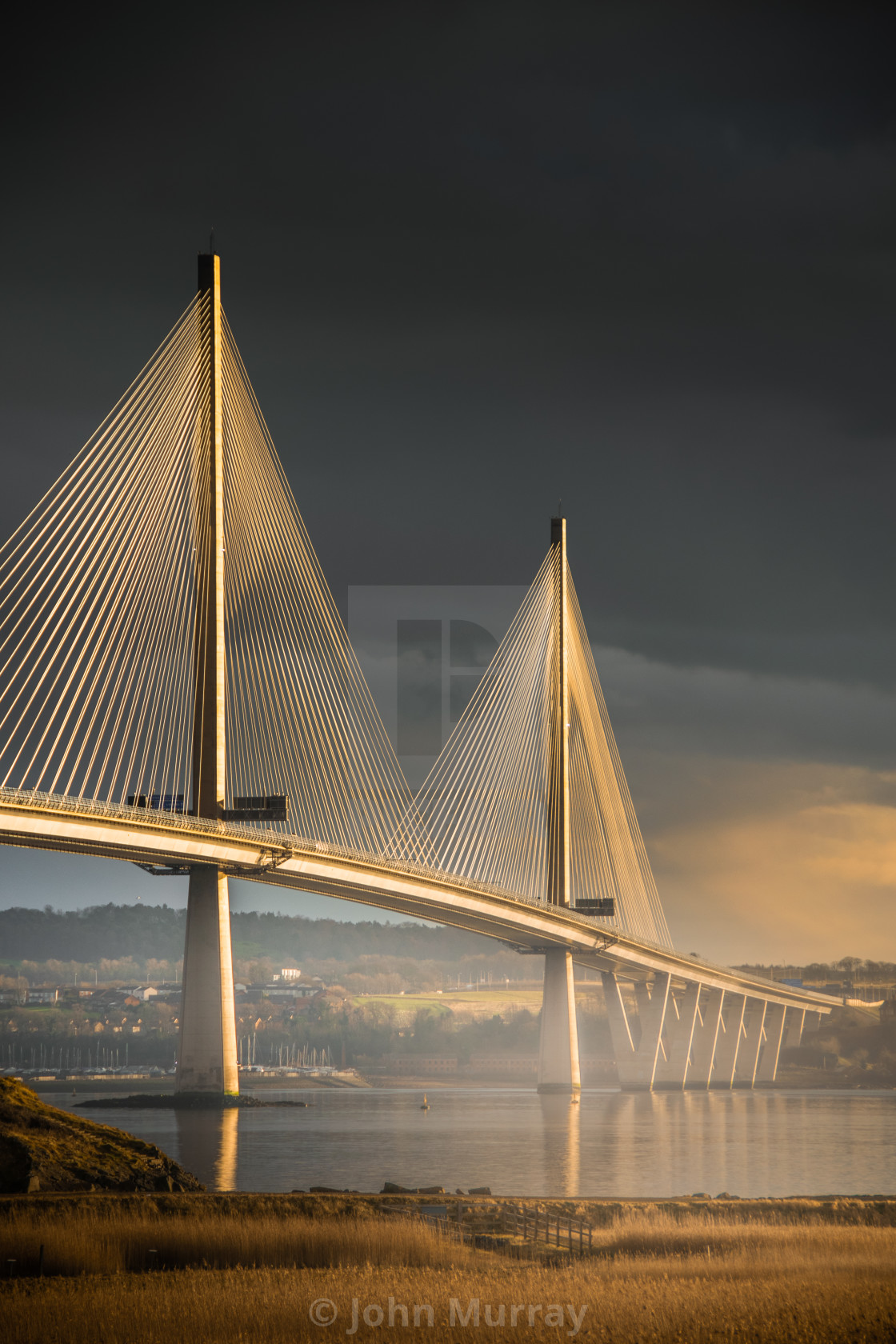 """Last Light on Queensferry Crossing"" stock image"