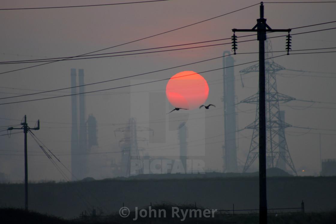 """Sunrise over Seal Sands, Teesside."" stock image"