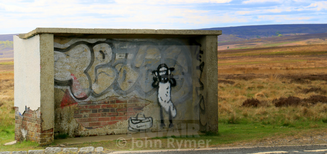 """Bus shelter on North Yorkshire Moors."" stock image"