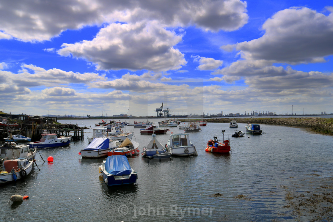 """Great sky over Paddy's Hole, South Gare Redcar."" stock image"