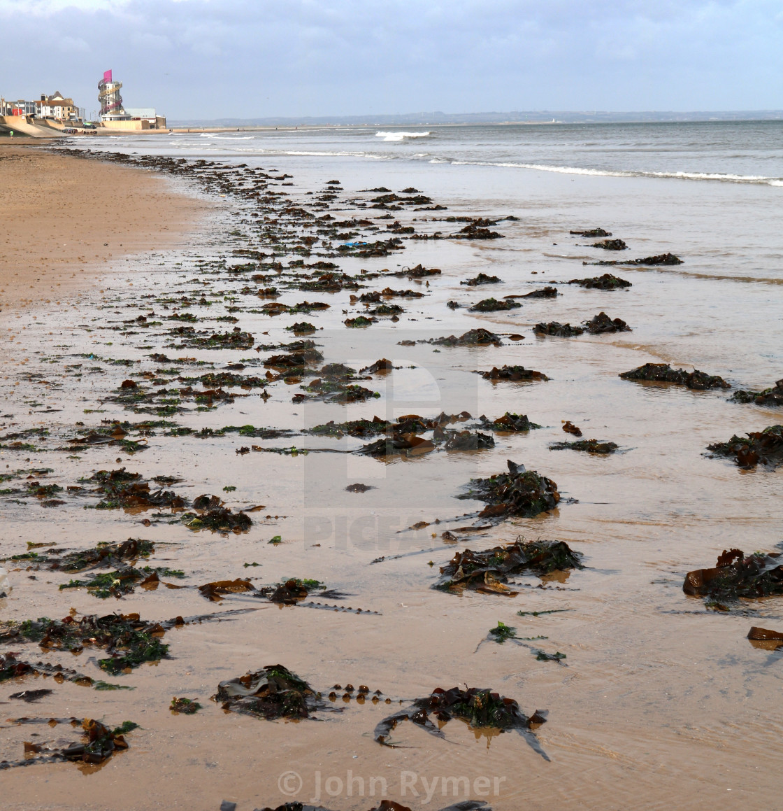 """Redcar beach at low-tide."" stock image"