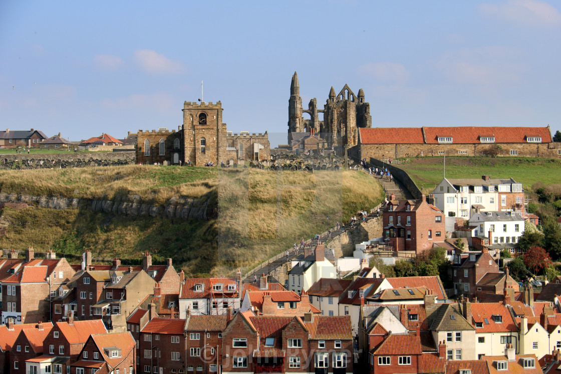 """""""Classic view of Whitby, North Yorkshire."""" stock image"""