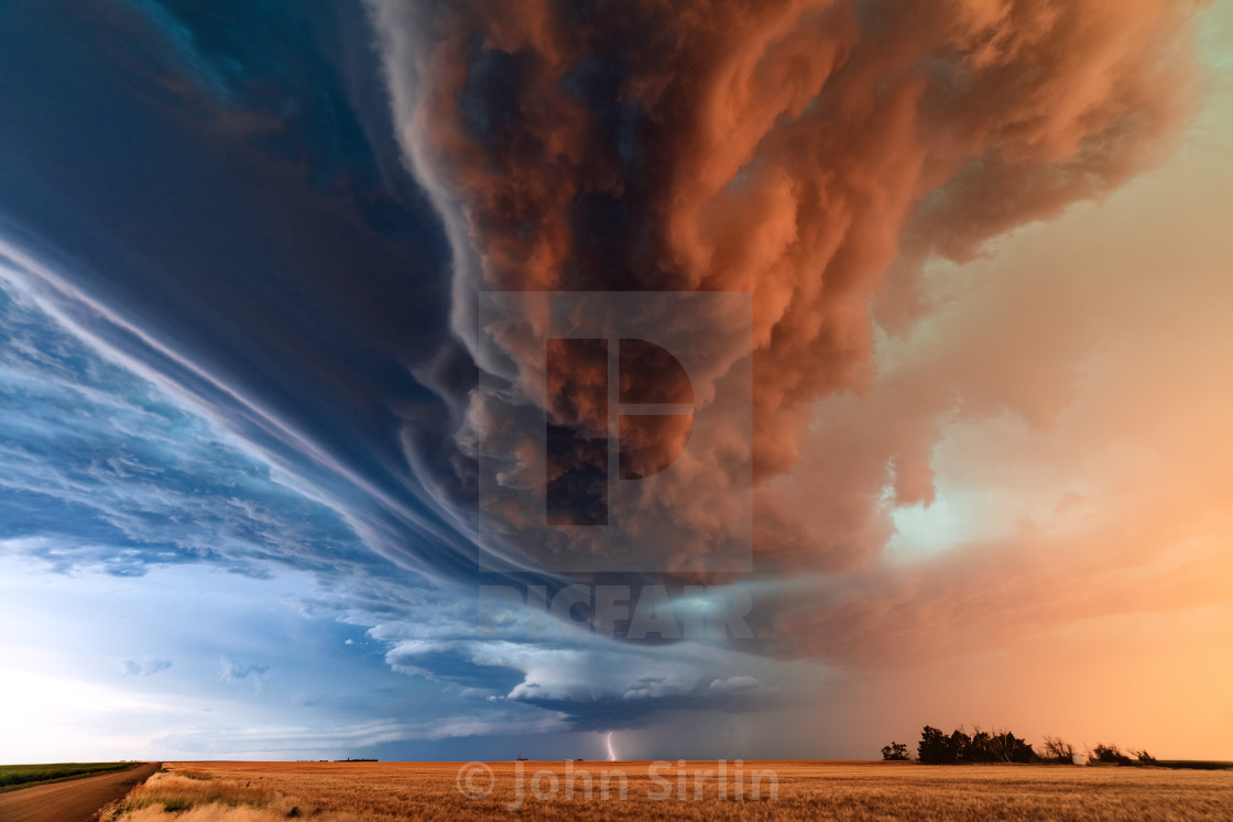 """Supercell thunderstorm with dramatic clouds"" stock image"