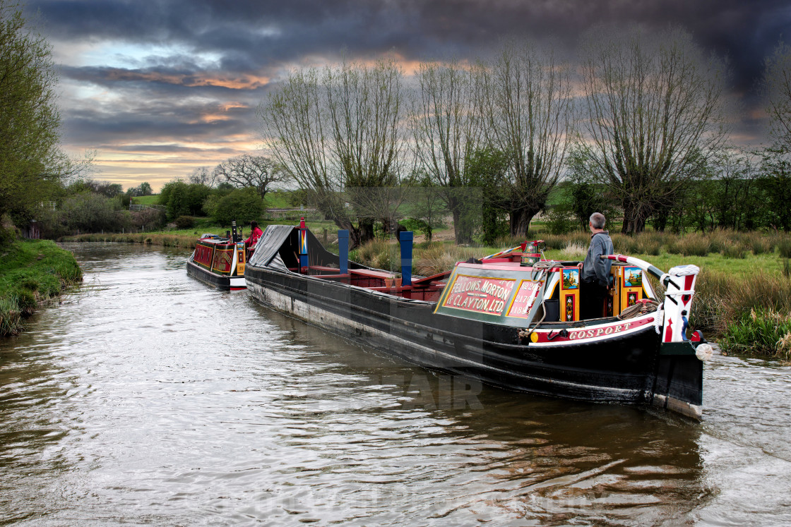 """Canal Boat and Butty"" stock image"