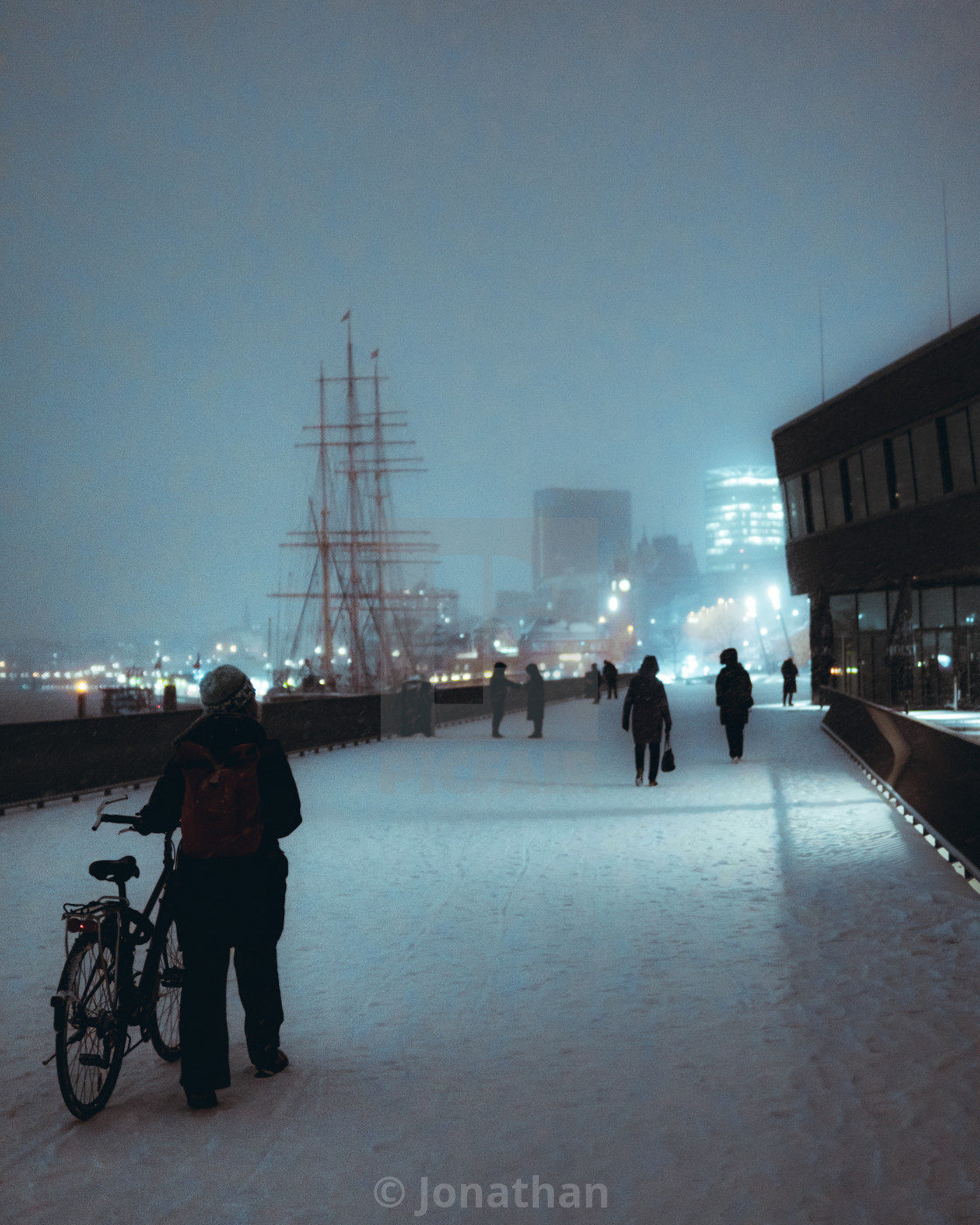 """Snow in Hamburg"" stock image"