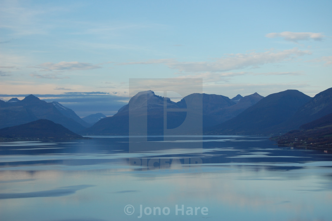 """Norwegian Fjords and Mountains"" stock image"