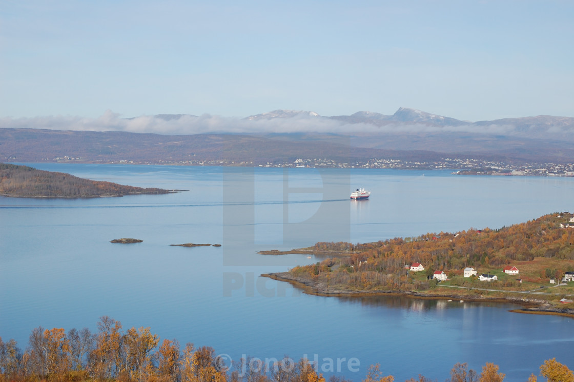 """Hurtigruten from Furøy, Norway."" stock image"