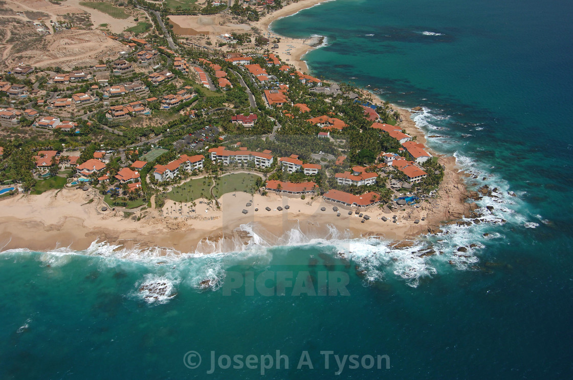 """Aerial View of Palmilla Point, Los Cabos, 2005"" stock image"