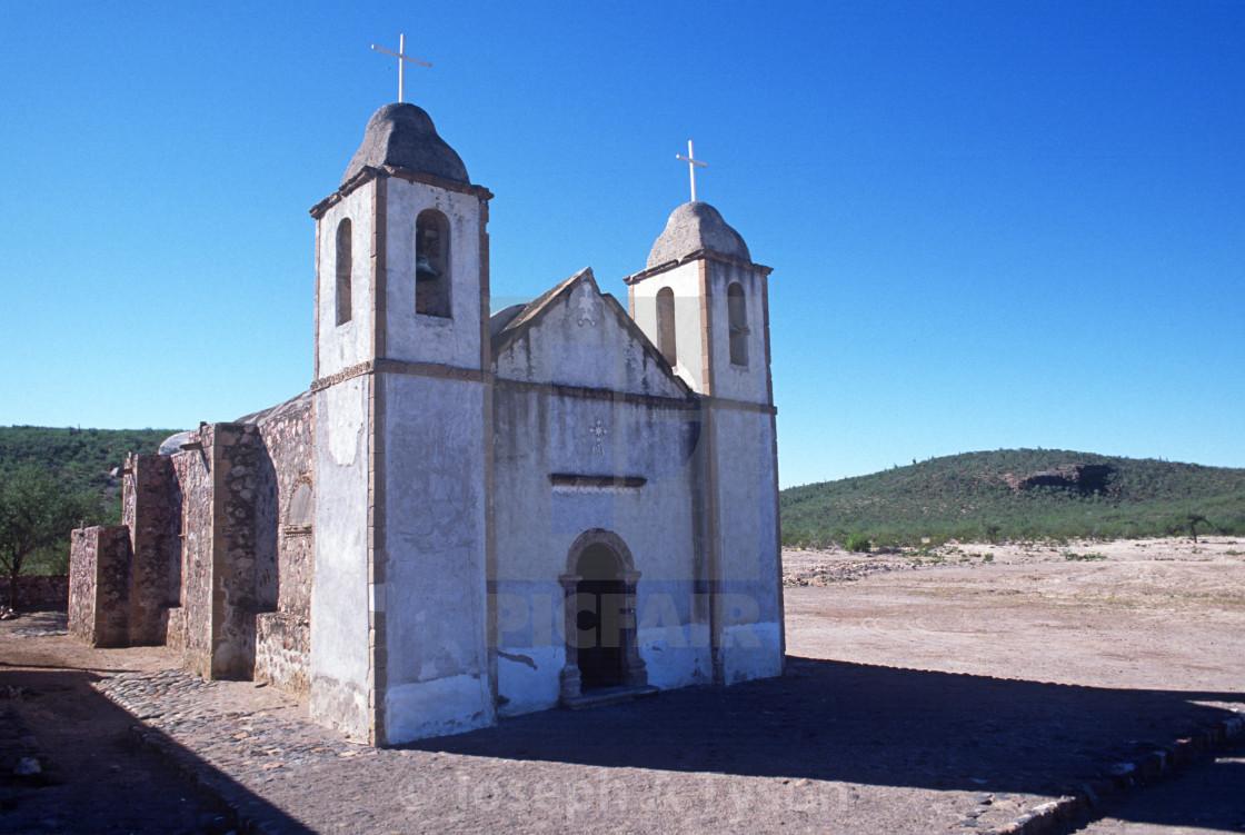 """Mission San Luis Gonzaga Chiriyaqui Jesuit mission"" stock image"