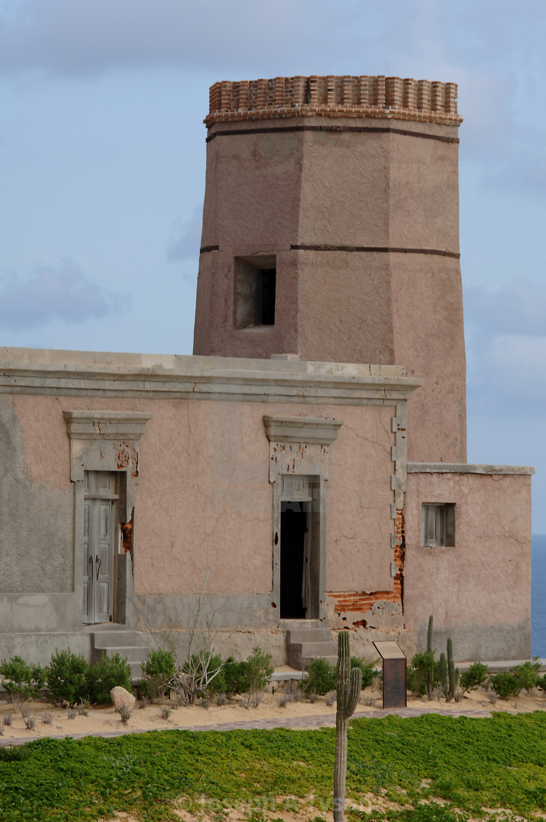 """The restored El Faro Viejo, The Old Lighthouse, Cabo San Lucas, July 2015"" stock image"