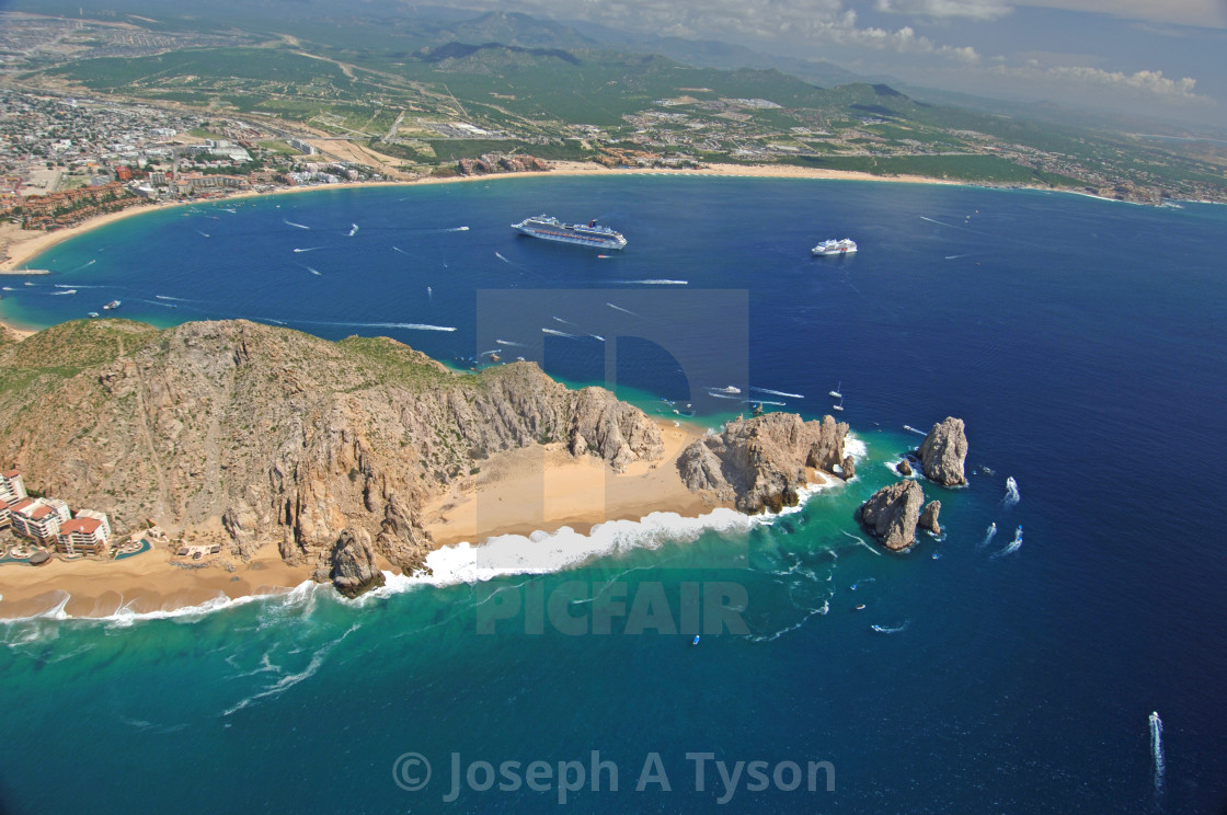 """""""Aerial View of Lands End and Medano Beach Cabo San Lucas"""" stock image"""