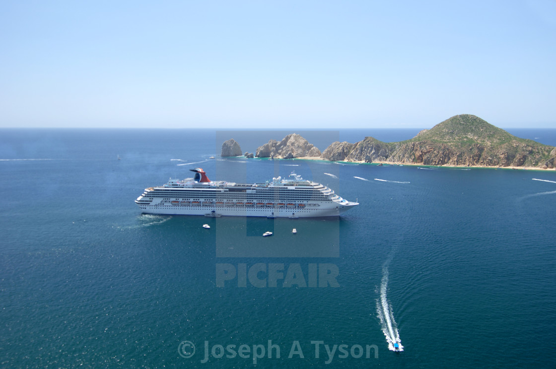 """Aerial View of a Cruiser Ship in the harbor at Cabo San Lucas"" stock image"