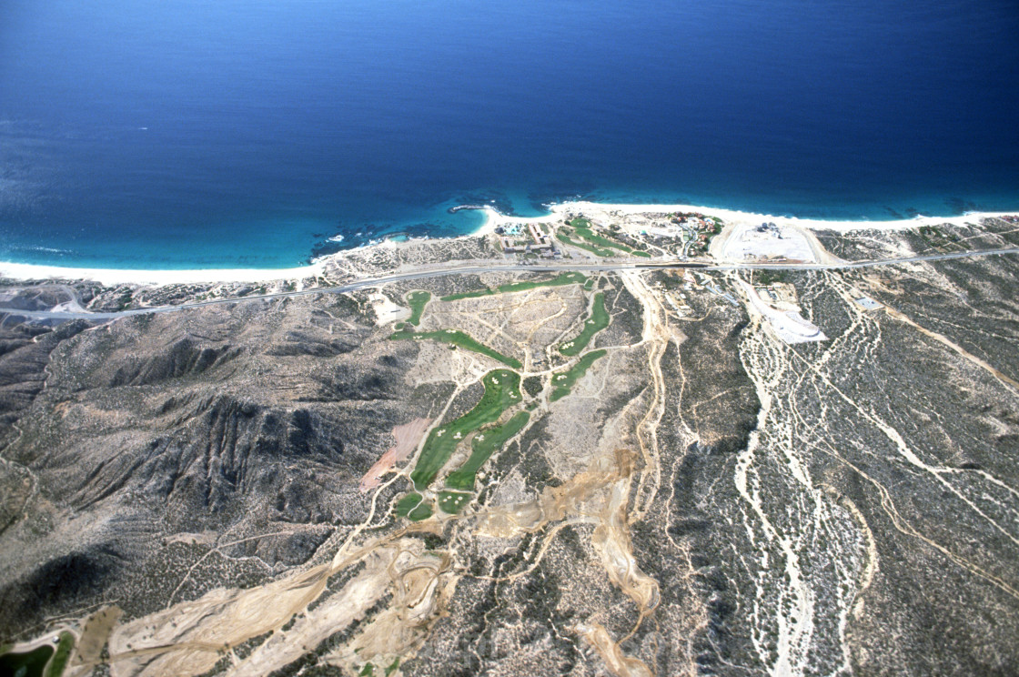 """""""Aerial View of Cabo Real and Sea of Cortez in 1993"""" stock image"""