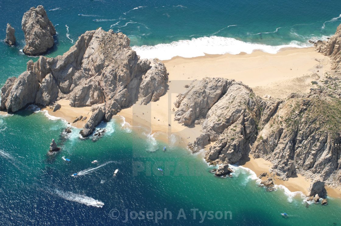 """Aerial View of Lover's Beach and Divorce Beach, Cabo San Lucas, 2012"" stock image"