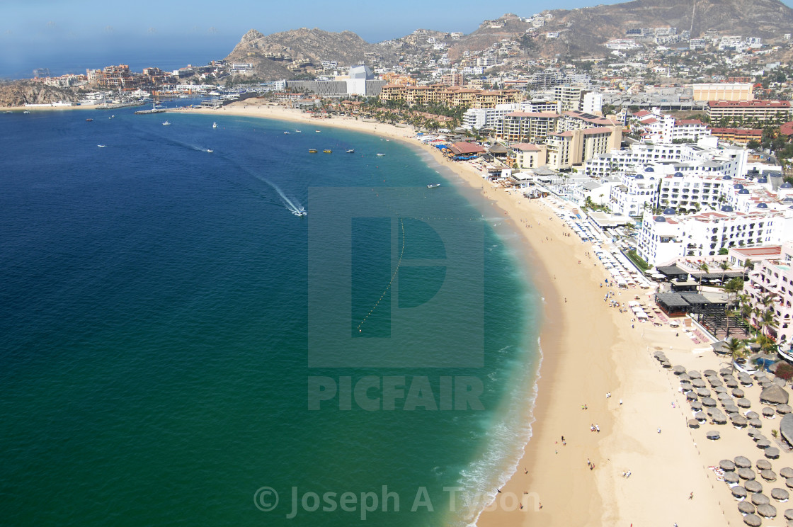 """Aerial View of Medano Beach Cabo San Lucas 2017"" stock image"