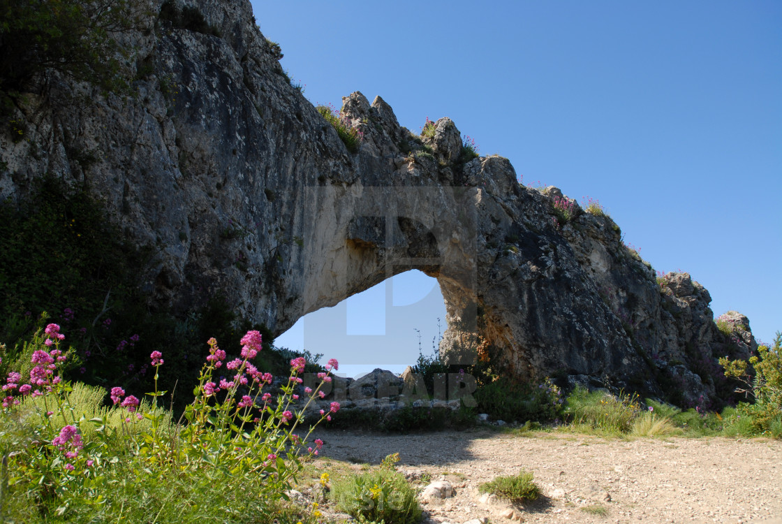 """Natural rock arch, Spain"" stock image"