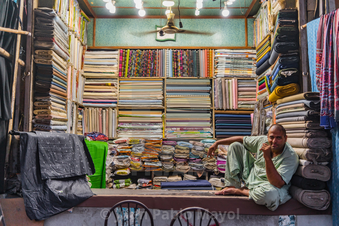 """Lahore bazaar fabric shop"" stock image"