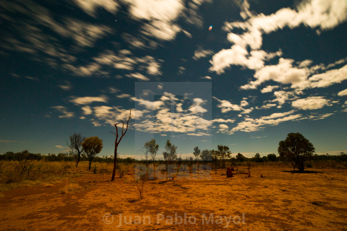 """Full moon in the outback"" stock image"