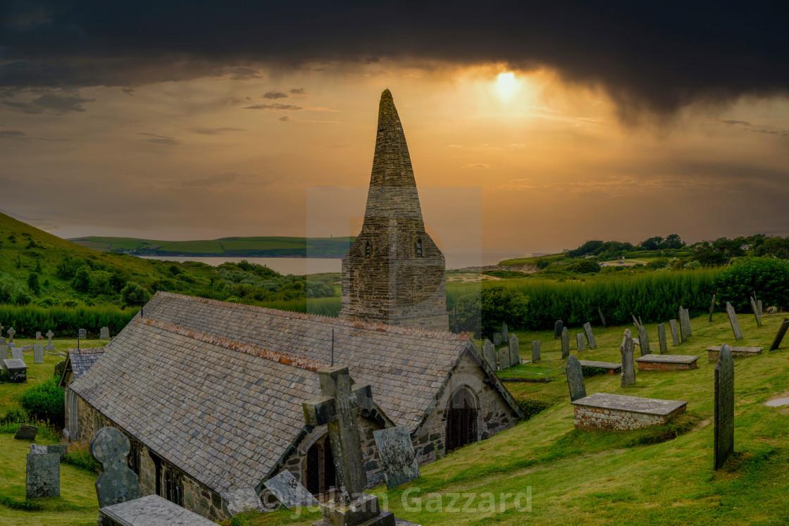 """The Church in the Sands - St Enodoc Church near Polzeath, North"" stock image"