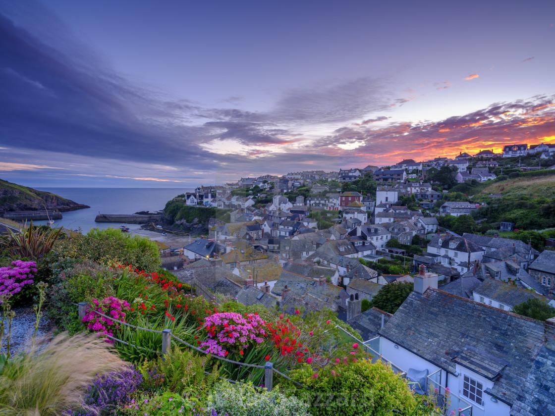 """Sunrise over Port Isaac, Cornwall"" stock image"