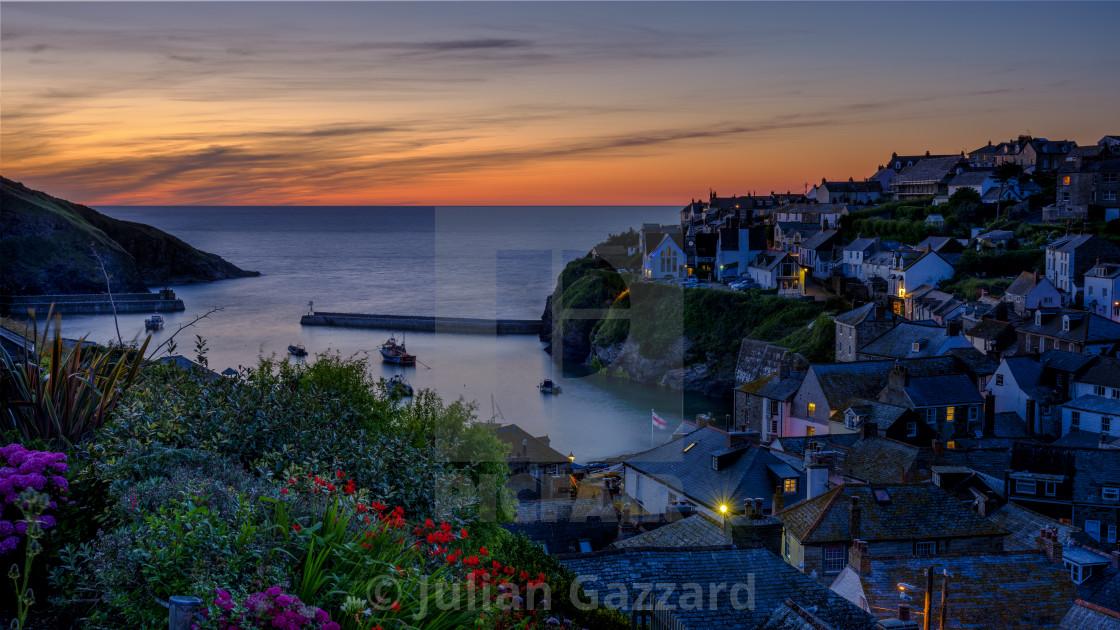"""Port Isaac summer evening sunset - a composite time blend"" stock image"