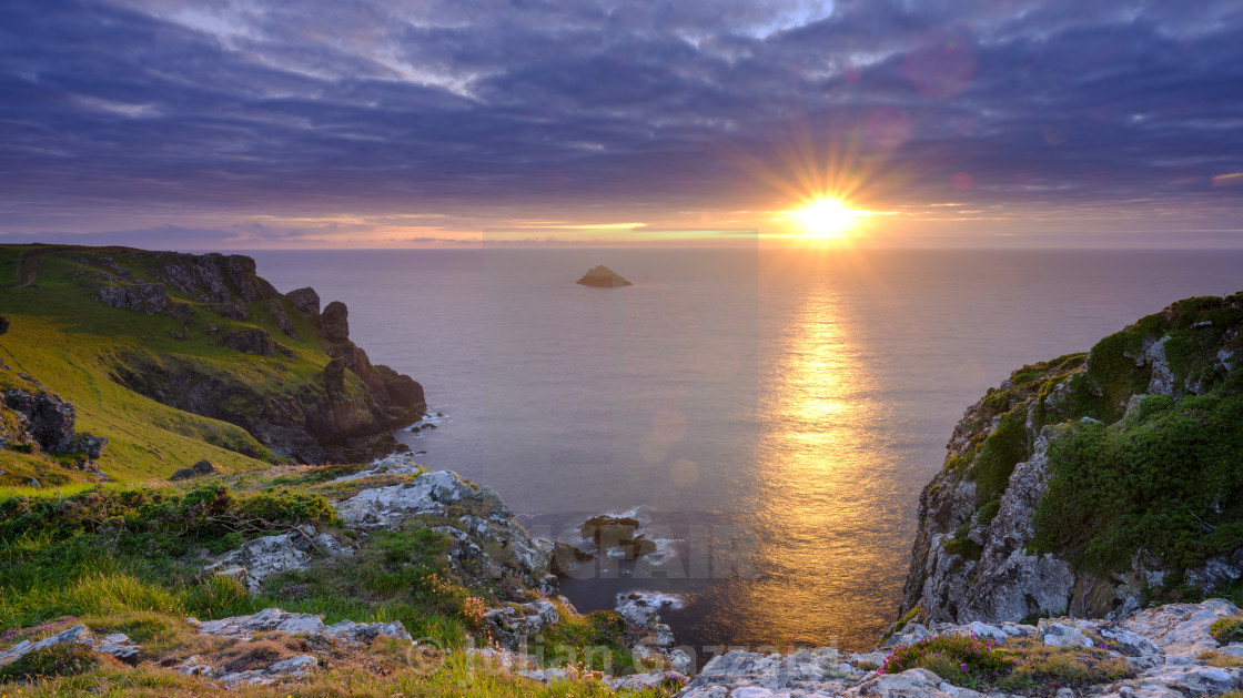 """""""Summer sunset over The Rumps and Pentire Head on the North Coast"""" stock image"""