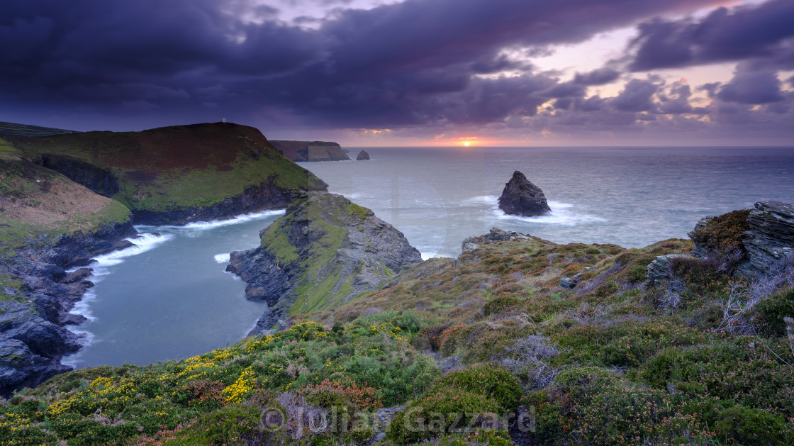 """Sunset on Boscastle Harbour, Cornwall, UK"" stock image"