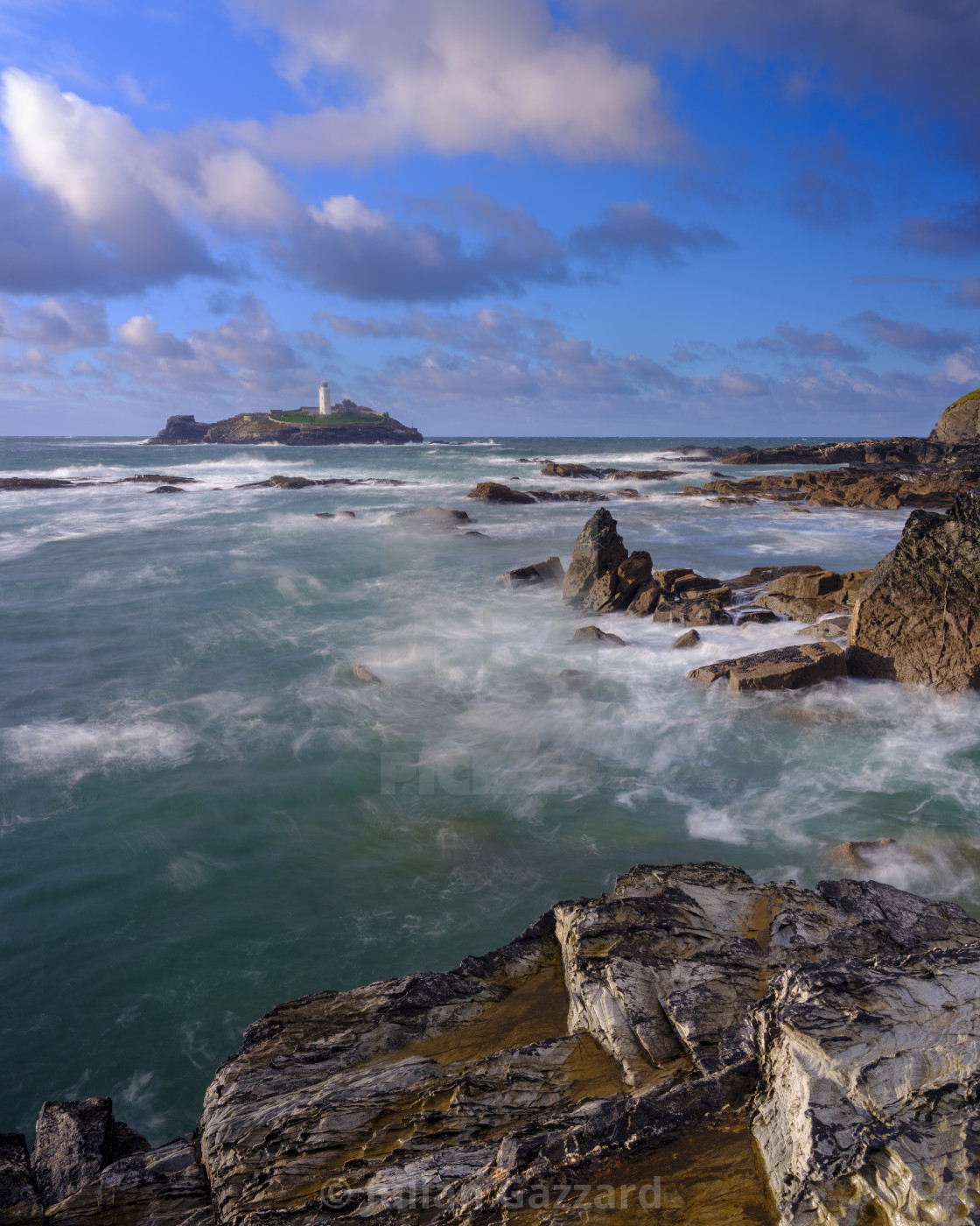 """""""Autumn sunset with stormy seas on Godrevy Island Light, Cornwall"""" stock image"""