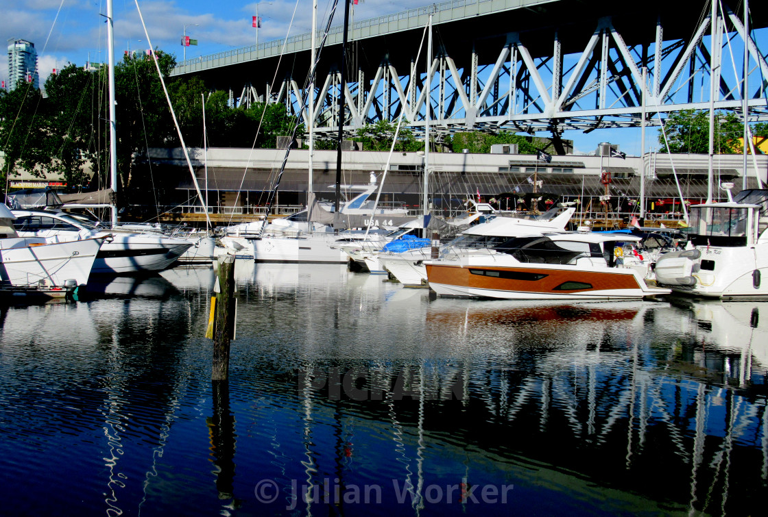 Boats on False Creek by Granville Island in Vancouver.