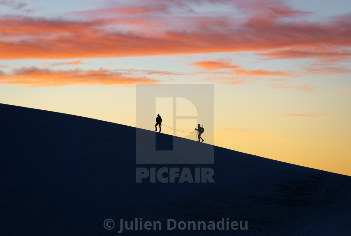 """Rope team on the Lyskamm ridge"" stock image"