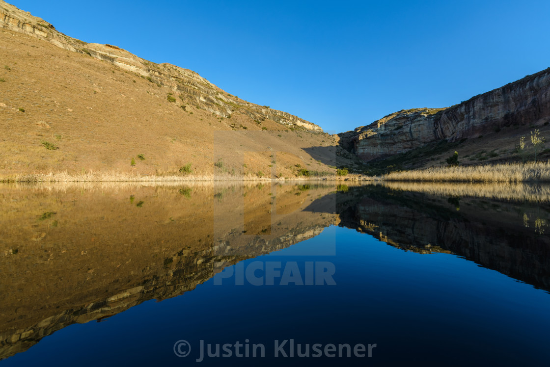 """Mountain reflection"" stock image"