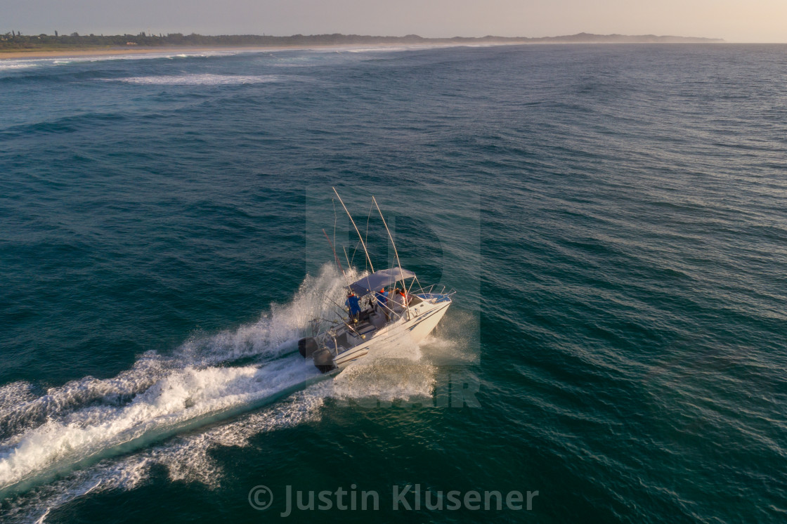 """""""Ski Boat heading out to sea"""" stock image"""