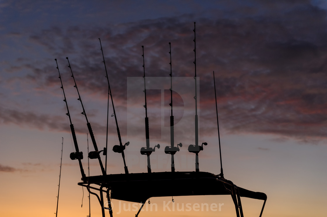 """""""Fishing rods sillhouette"""" stock image"""