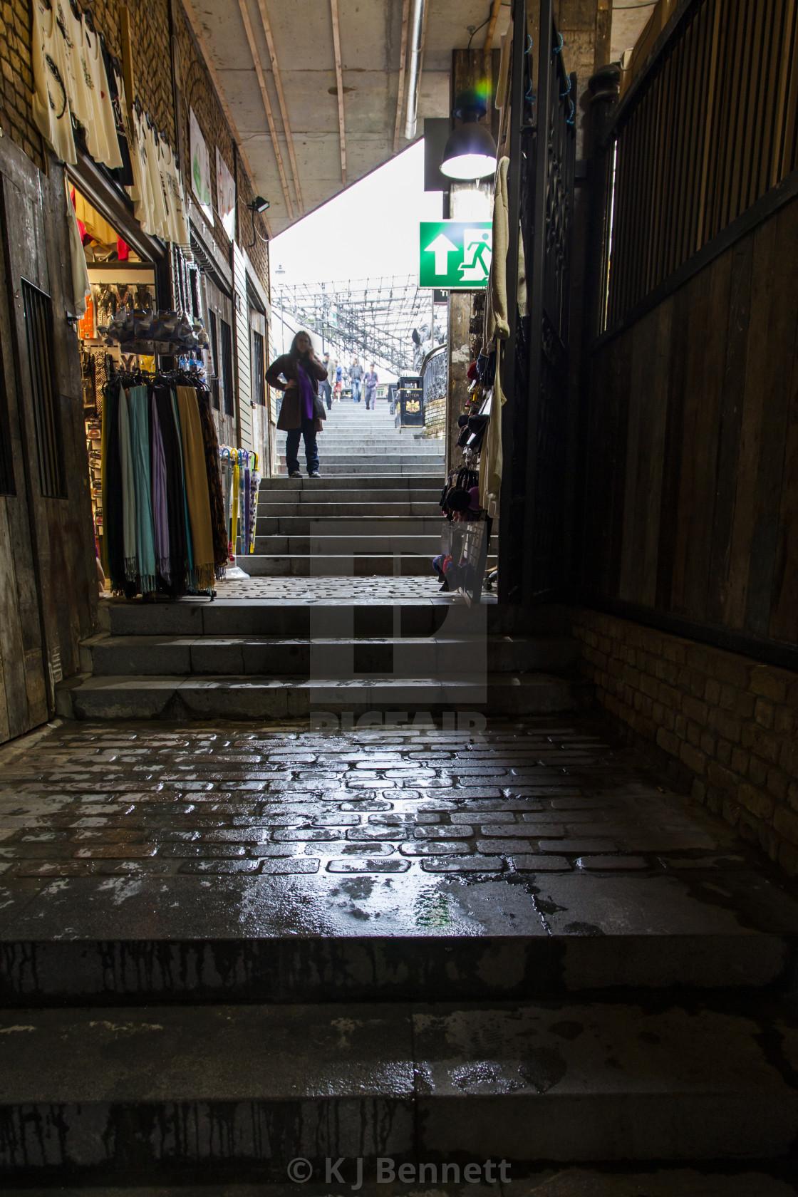 """""""Atmospheric Alleyway, Camden Market, Camden Town, North West London, England, UK"""" stock image"""