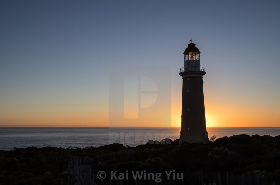 """Sunset at Cape du Couedic Lighthouse"" stock image"