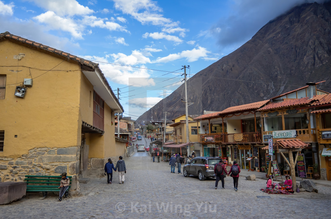 """The Main Street, Inca Fortress, Ollantaytambo, Peru"" stock image"