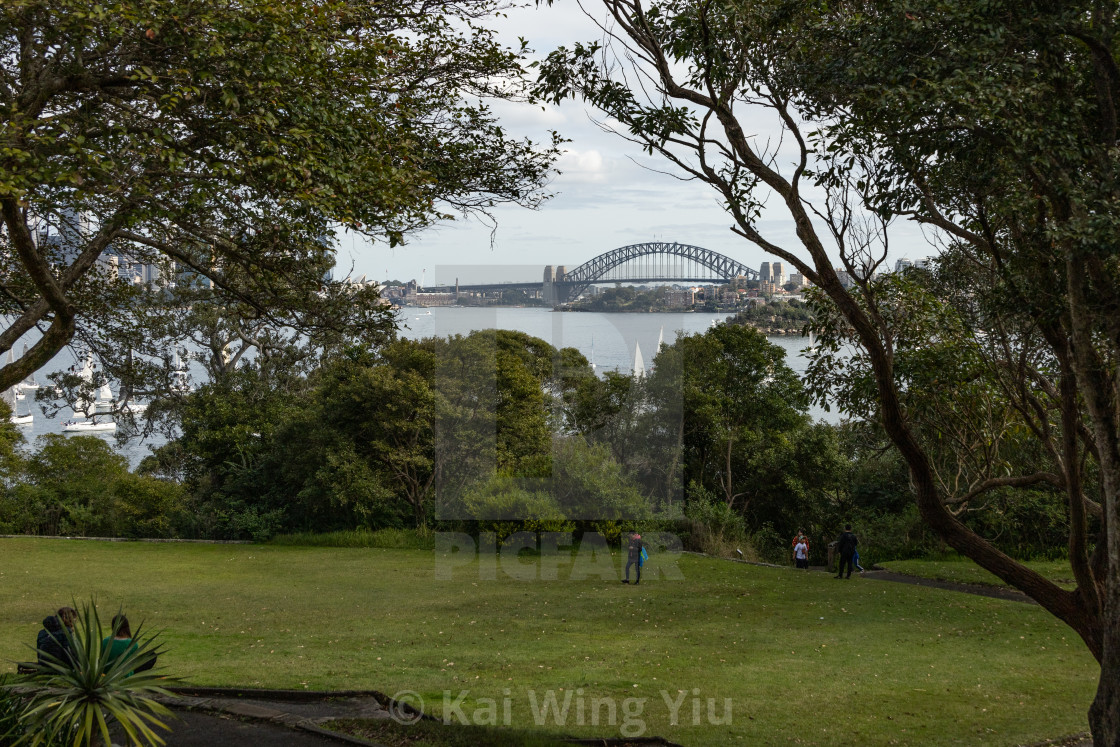 """A distant view of Sydney Harbour Bridge"" stock image"