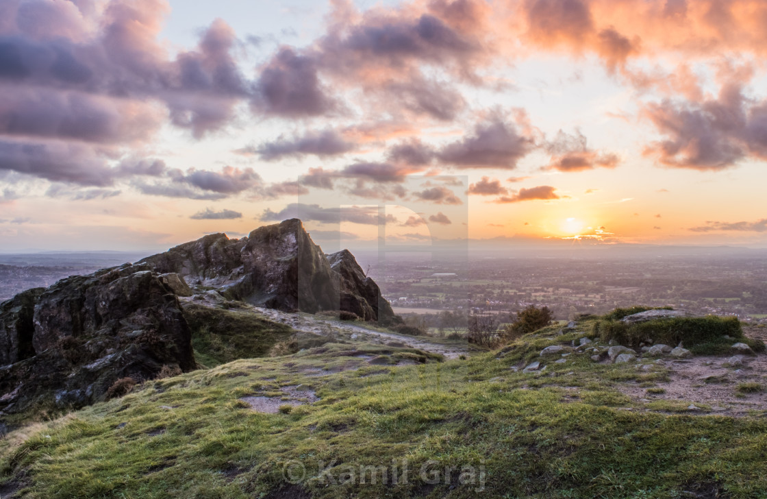 """""""Mow Cop hill sunset"""" stock image"""
