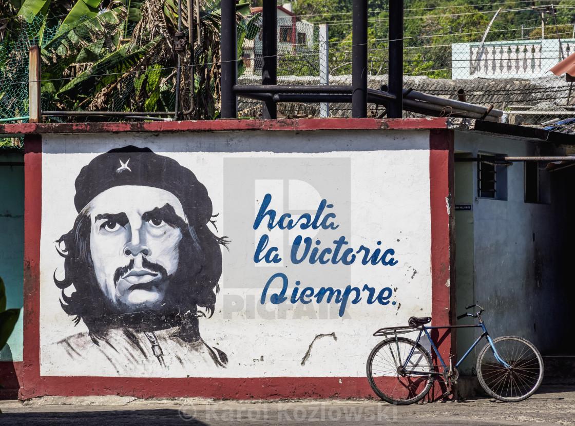 """Mural Painting with Che Guevara, Baracoa, Guantanamo Province, Cuba"" stock image"