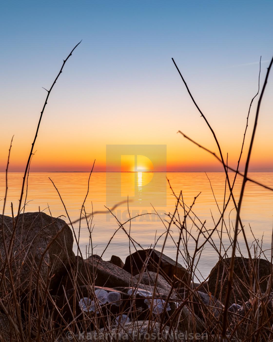 """Sunset at Rosnæs"" stock image"