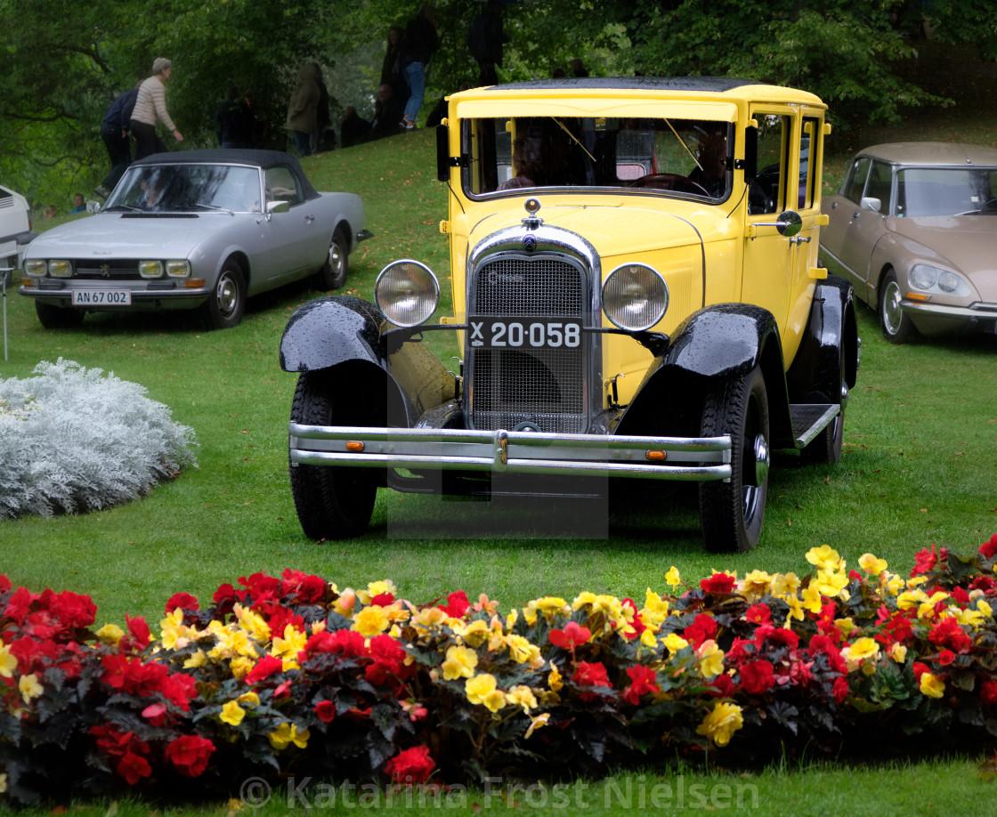 """Yellow Citroën, classic car"" stock image"