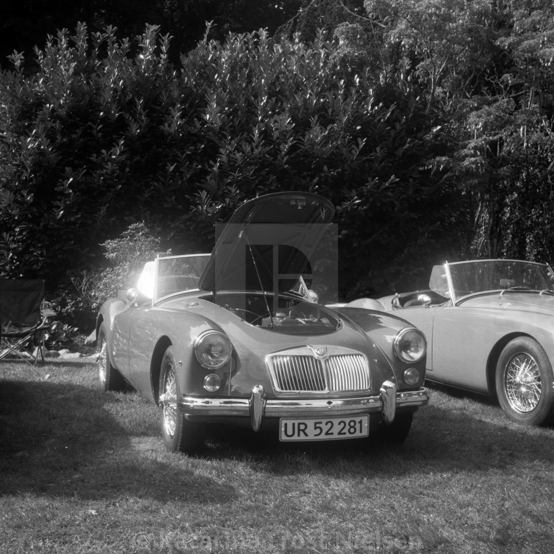 """""""MG, classic car taken by classic camera, BW film"""" stock image"""