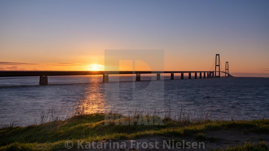 """""""Sunset at Storebælt - Great Belt Bridge, Denmark"""" stock image"""